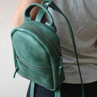 Рюкзак мини (малахит). Натуральная кожа. Ручная работа.