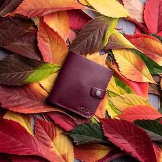 Бордовый кошелек с монетницей из натуральной кожи Руби от мастерской Hidemont