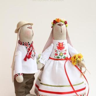 """Пара зайчиков """"Свадьба в народном стиле"""""""