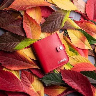 Компактный кошелек с монетницей из натуральной кожи Руби от мастерской Hidemont, 7 цветов на выбор