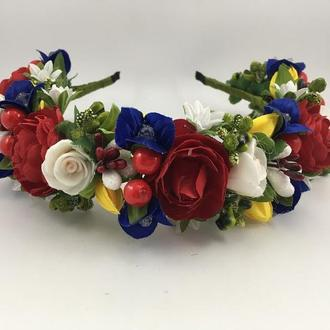 Венок на голову с разноцветными цветами