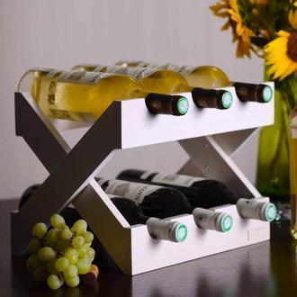 Подставка для бутылок вина из дерева в белом цвете. Lacrima.