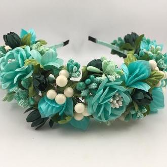 Венок на голову с бирюзовыми цветами