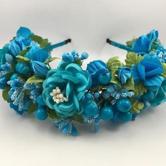 Венок на голову с голубыми цветами