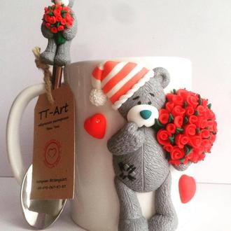 Кружка с декором ′Влюбленный Тедди′.