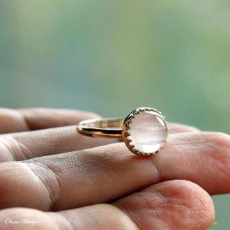 Серебряное кольцо с розовым кварцем, простое серебряное кольцо, серебряное кольцо с камнями