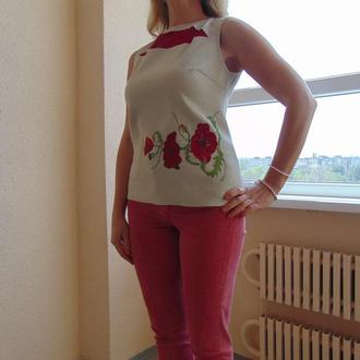 Блуза женская из льна с вышивкой маки