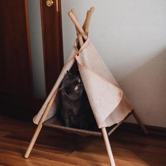 Домик для животных (вигвам) Беж !