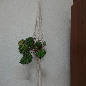 Підвісне кашпо для кімнатних рослин в техніці макраме