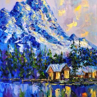 """Картина маслом """"Вечерние огоньки"""" горный пейзаж 80х60 см"""