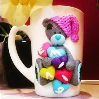 """Именная чашка с декором """"Влюбленный Тедди"""""""