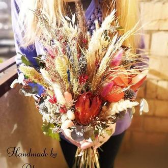 Свадебный букет из сухоцветов
