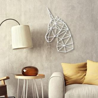 Деревянное панно на стену. Деревянный настенный декор для дома. Единорог из дерева