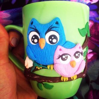 Чашка с совушками: декор из полимерной глины