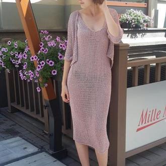 Платье на тонких бретелях с коротким болеро, связанное из шелка миссони