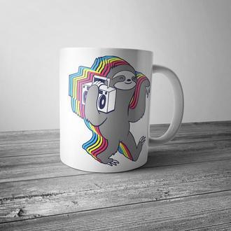 """Чашка с принтом """"Музыкальный ленивец"""""""