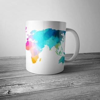 """Чашка с принтом """"Акварельная карта мира"""""""