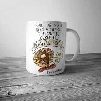 """Чашка с принтом """"Ron Swanson, breakfast"""""""