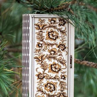 Шкатулка-конверт для денег из дерева Цветы, деревянный конверт, стильный подарок