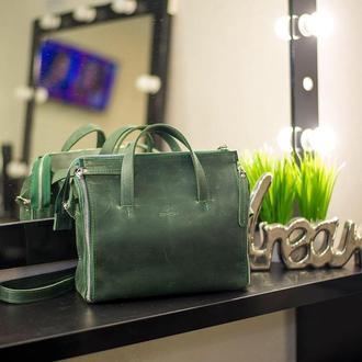 Зеленая кожаная сумка. Кожаная сумка органайзер. Кожаная сумка на замке.