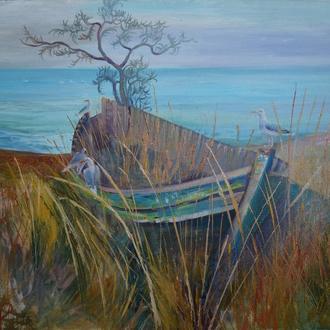 """Морской пейзаж """"Лодка на берегу и чайки"""". Пейзаж с лодкой и птицами. Украинская живопись"""