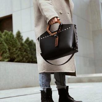 Стильная зимняя женская сумка из эко-кожи FIGLIMON SIMPLE| черная