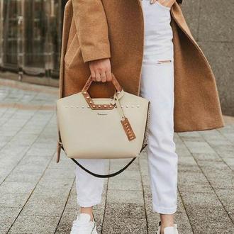 Стильная женская сумка FIGLIMON SIMPLE| бежевая, с косметичкой |