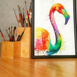 Акварельный фламинго