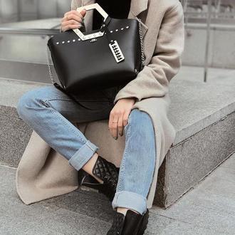 Стильная сумочка из эко-кожи на зиму  FIGLIMON SIMPLE| черная