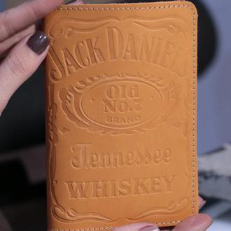 "Кожаная обложка на паспорт ""Jack Daniels"" (Джек Дэниэлс)"