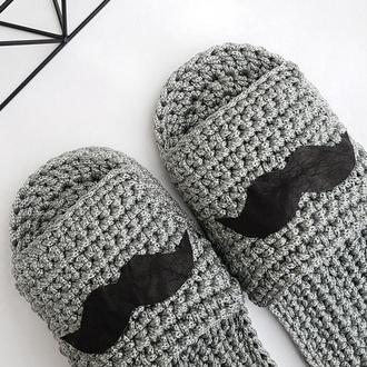 Домашние тапочки серые. Обувь для дома. Подарок мужчине.