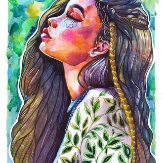 Весенняя Девушка Акварельный портрет