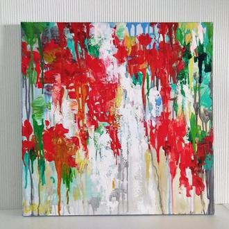 Абстрактная картина акриловыми красками - Карта мира в цветах -