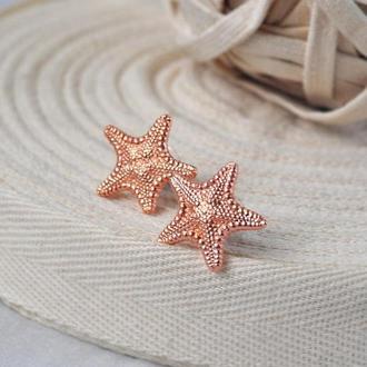 Серьги-гвоздики с омедненными настоящими морскими звездами