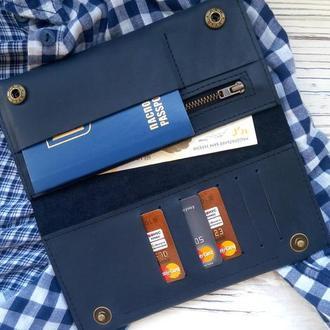 Портмоне женские кожаные, женский кошелек синий, именные подарки для мужчин и женщин от Kozhemyaka