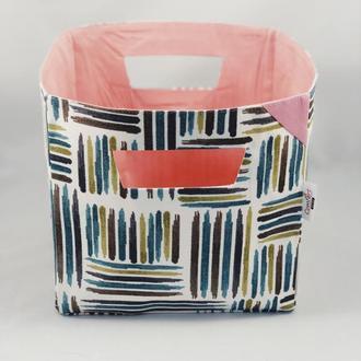 Корзина из ткани, интерьерная корзина. Декор в детскую. Корзина для игрушек. Корзина для хранения.