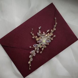 Весільна прикраса для волосся, гілочка в зачіску, ніжні прикраси в зачіску, гілочка колір шампань