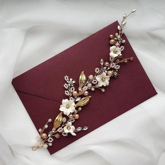 Свадебное украшение для волос, золотистая веточка в прическу, украшение в прическу невесте
