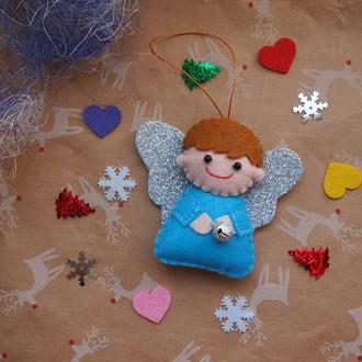 Игрушка новогодняя из фетра Ангел