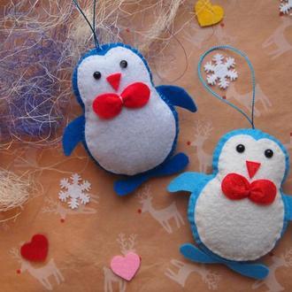 Елочная игрушка из фетра Пингвин