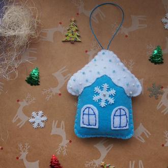 Новогодняя игрушка из фетра Домик