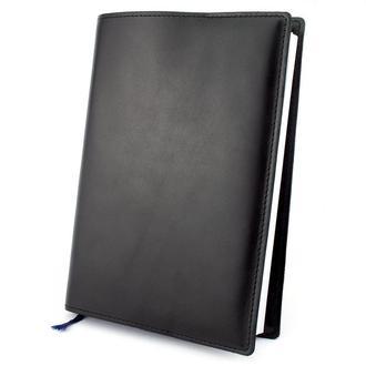 Кожаная обложка для ежедневника / блокнота ф. А5 Crez (черная гладкая)