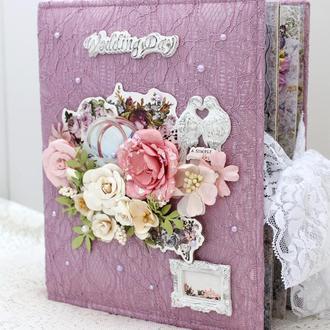Свадебный альбом скрапбукинг, подарок на свадьбу , весільний фотоальбом