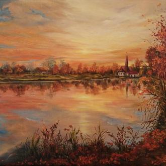 """Картина маслом """"Золотая осень"""", 30х40 см, холст на подрамнике, масло"""
