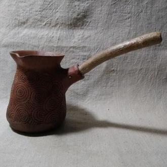турка керамічна з червоної глини з узором