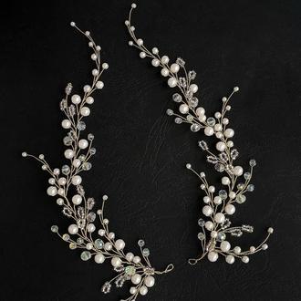 Свадебное украшение для волос, веточка в прическу, украшение в прическу невесте, ободок