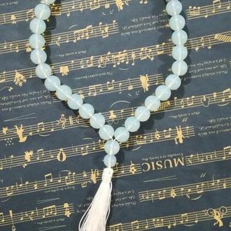 Четки классические 33 бусины Лунный камень, буддийские четки \ Ч - 105
