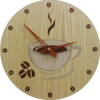 """Деревянные Настенные Часы в Технике Маркетри """"Coffee time"""". Пожизненная Гарантия!"""