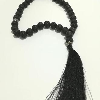 Четки из Лавы черные 33 бусины, буддийские четки (d 12 мм) \ Ч - 119