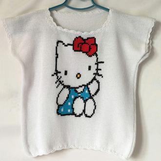 Летняя вязаная футболка для девочки (5-6 лет) Hello Kytti
